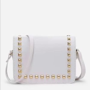 White gold studded crossbody bag vegan 403274
